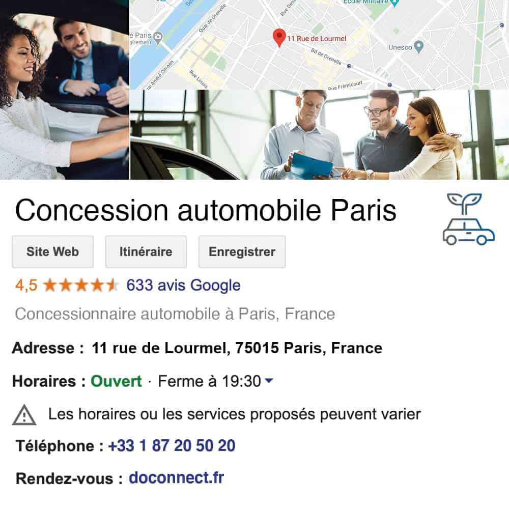 fiche google my business doconnect automobile concessionnaire auto garagiste revision technique voiture neuve voiture occasion revendeur moto