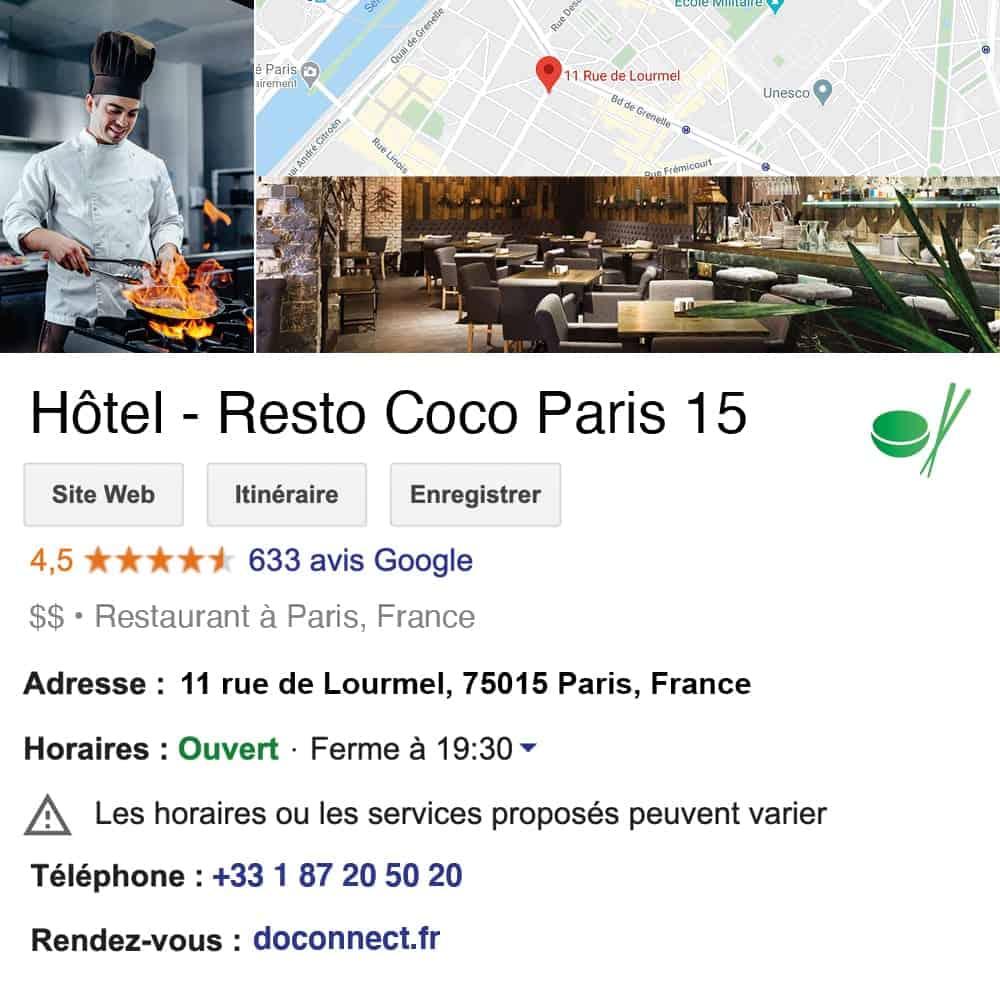 fiche google my business doconnect hotel restaurant metiers de bouche hotellerie-restauration avis google restaurant traiteur