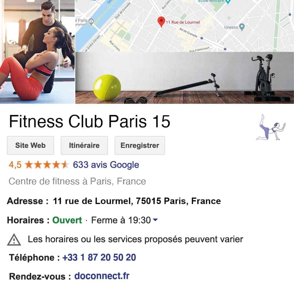 fiche google my business pilates sport salle de sport yoga fitness