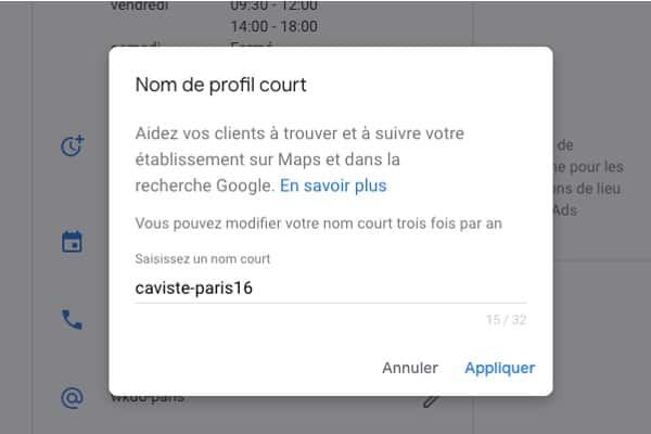 nom profil court google my business