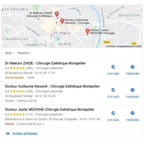resultat google avis patients