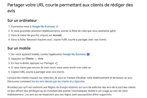 google my business creer lien direct redaction avis doconnect