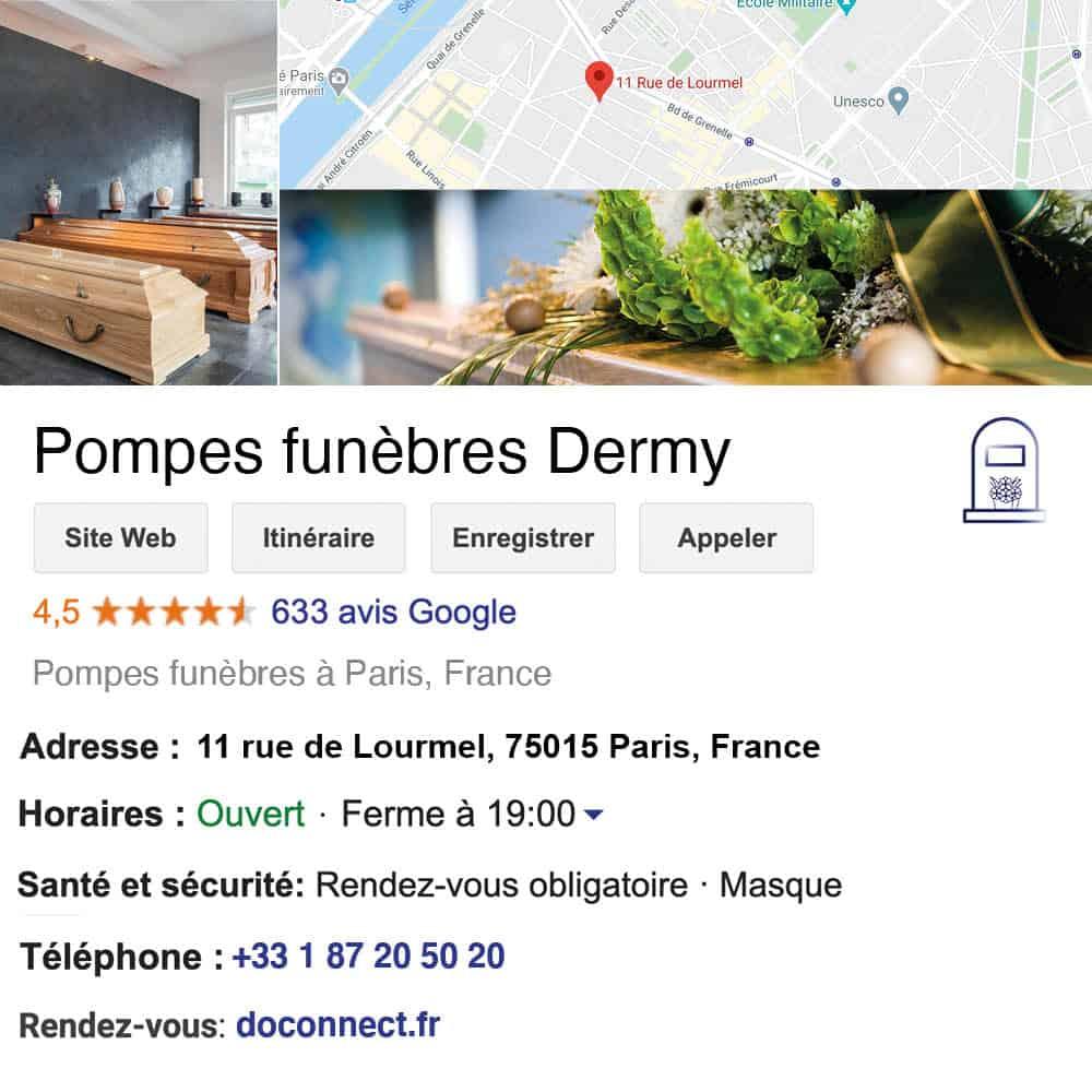 fiche google my business pompes funebres organisation enterrements et obseques service funeraire